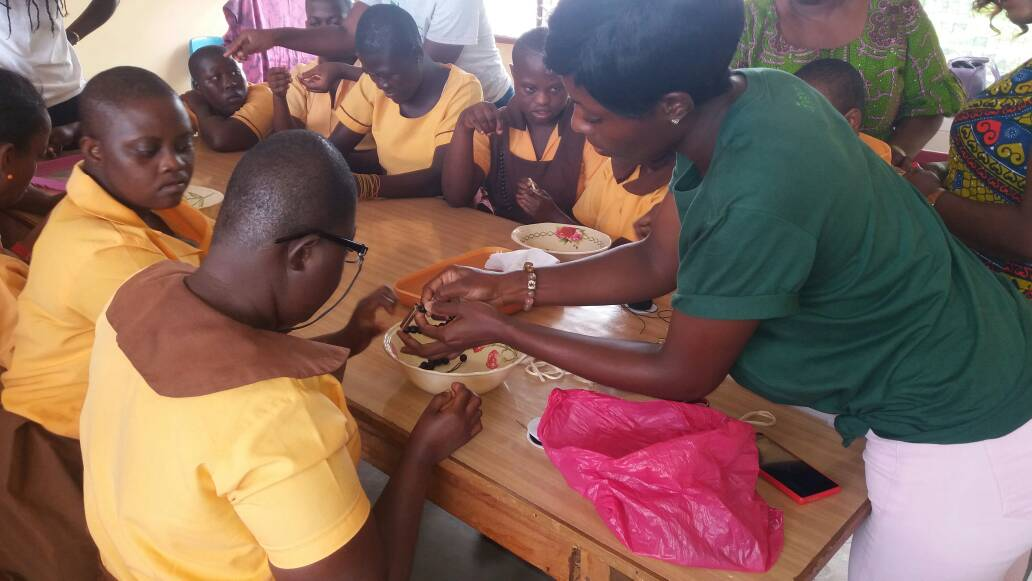 #AhabanGreenCampSession – Bead Making With The Kids At Dzorwulu Special School
